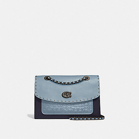 COACH 53344 PARKER IN SIGNATURE LEATHER WITH RIVETS PEWTER/MIST-MULTI