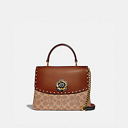 COACH 53349 - PARKER TOP HANDLE IN SIGNATURE CANVAS WITH RIVETS TAN/BLACK/BRASS
