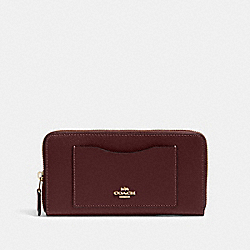 COACH 54007 Accordion Zip Wallet IM/DARK BURGUNDY