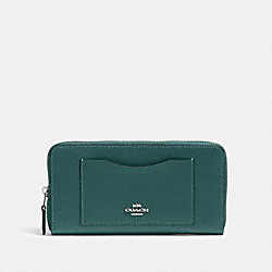 COACH 54007 Accordion Zip Wallet SV/DARK TURQUOISE