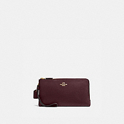 DOUBLE ZIP WALLET - 54052 - GOLD/OXBLOOD