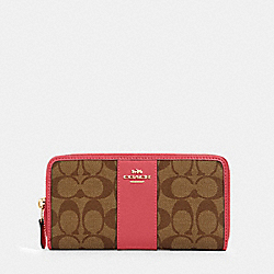 COACH 54630 - ACCORDION ZIP WALLET IN SIGNATURE CANVAS IM/KHAKI/FUCHSIA