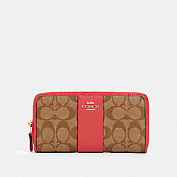 COACH 54630 Accordion Zip Wallet In Signature Canvas IM/KHAKI POPPY