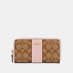 COACH 54630 Accordion Zip Wallet In Signature Canvas IM/KHAKI BLOSSOM