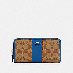 COACH 54630 Accordion Zip Wallet In Signature Canvas IM/KHAKI DEEP ATLANTIC