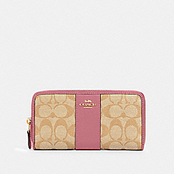 COACH 54630 - ACCORDION ZIP WALLET IN SIGNATURE CANVAS IM/LIGHT KHAKI ROSE