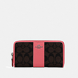 COACH 54630 - ACCORDION ZIP WALLET IN SIGNATURE CANVAS QB/BROWN PINK LEMONADE