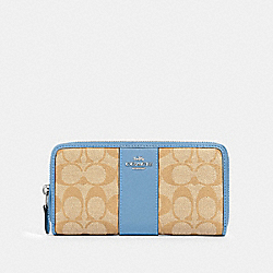 COACH 54630 Accordion Zip Wallet In Signature Canvas SV/LIGHT KHAKI/SLATE