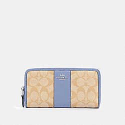 ACCORDION ZIP WALLET IN SIGNATURE CANVAS - 54630 - SV/LIGHT KHAKI PERIWINKLE