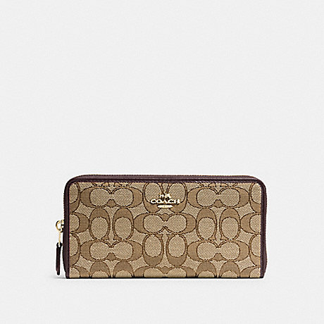 COACH 54633 ACCORDION ZIP WALLET IN SIGNATURE JACQUARD IM/KHAKI/BROWN