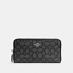 COACH 54633 Accordion Zip Wallet In Signature Jacquard SV/BLACK SMOKE/BLACK