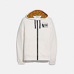 DISNEY MICKEY MOUSE X KEITH HARING FULL ZIP HOODIE - WHITE - COACH 5469