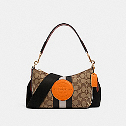 DEMPSEY SHOULDER BAG IN SIGNATURE JACQUARD WITH STRIPE AND PATCH - IM/KHAKI SUNBEAM MULTI - COACH 5483