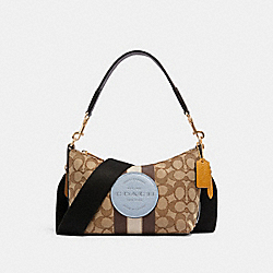 DEMPSEY SHOULDER BAG IN SIGNATURE JACQUARD WITH STRIPE AND PATCH - 5483 - IM/KHAKI/MIST MULTI