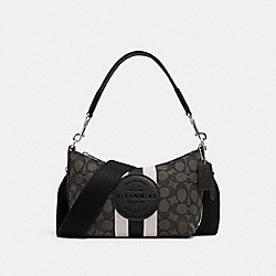 DEMPSEY SHOULDER BAG IN SIGNATURE JACQUARD WITH STRIPE AND PATCH - 5483 - SV/BLACK SMOKE BLACK MULTI