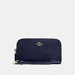 COACH 54872 Double Accordion Zip Wallet In Smooth Leather NAVY/LIGHT GOLD