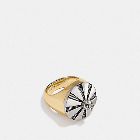 COACH 54975 LARGE DAISY RIVET COCKTAIL RING SILVER/GOLD