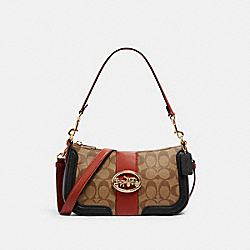 COACH 5498 - GEORGIE BAGUETTE IN COLORBLOCK SIGNATURE CANVAS IM/KHAKI/TERRACOTTA MULTI