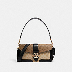 GEORGIE SHOULDER BAG IN BLOCKED SIGNATURE CANVAS - 5509 - IM/KHAKI/LT KHAKI/BLACK