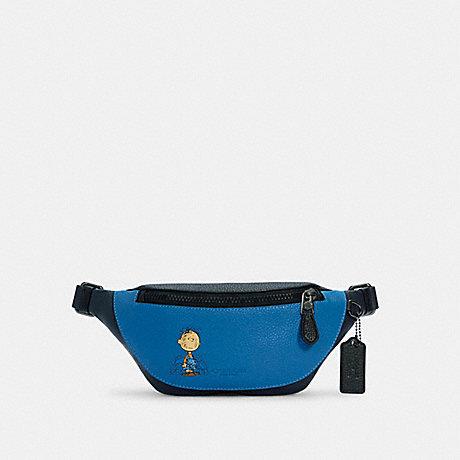 COACH 5512 COACH X PEANUTS MINI WARREN BELT BAG WITH CHARLIE BROWN QB/VIVID BLUE