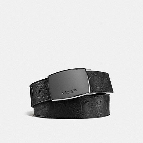 COACH 55179 PLAQUE BUCKLE CUT-TO-SIZE REVERSIBLE BELT, 38MM BLACK/BLACK