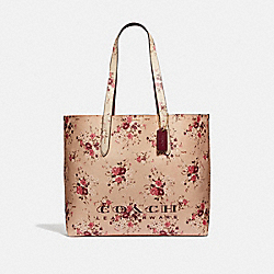 COACH 55181 - HIGHLINE TOTE WITH FLORAL PRINT BEECHWOOD/GOLD