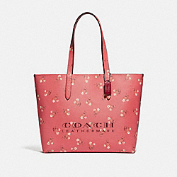 COACH 55181 Highline Tote With Floral Print SV/BRIGHT CORAL