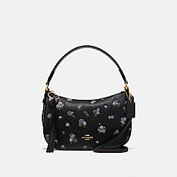 COACH 55373 Sutton Crossbody With Floral Print BLACK/GOLD