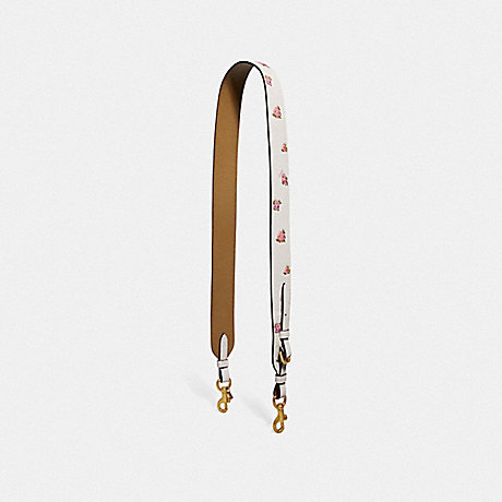 COACH 55506 STRAP WITH FLORAL PRINT CHALK/BRASS