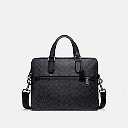 COACH 55569 Kennedy Brief In Signature Canvas CHARCOAL/BLACK ANTIQUE NICKEL