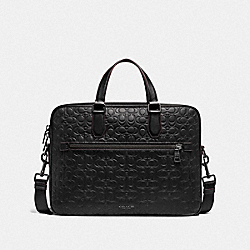 COACH 55578 - KENNEDY BRIEF 40 IN SIGNATURE LEATHER QB/BLACK