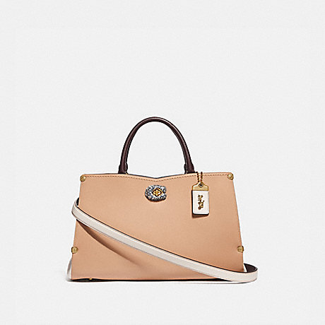 COACH 55599 MASON CARRYALL IN COLORBLOCK WITH SNAKESKIN DETAIL B4/BEECHWOOD-CHALK