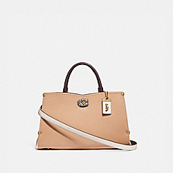 COACH 55599 Mason Carryall In Colorblock With Snakeskin Detail B4/BEECHWOOD CHALK
