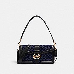 GEORGIE SHOULDER BAG IN SIGNATURE VELVET - 5566 - IM/COBALT