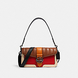 GEORGIE SHOULDER BAG WITH COLORBLOCK LINEAR QUILTING - 5568 - QB/BRIGHT POPPY MULTI