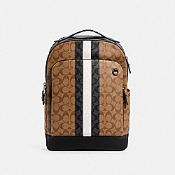 COACH 5569 - GRAHAM BACKPACK IN BLOCKED SIGNATURE CANVAS WITH VARSITY STRIPE QB/TAN MULTI