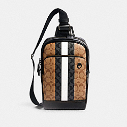 COACH 5572 - GRAHAM PACK IN BLOCKED SIGNATURE CANVAS WITH VARSITY STRIPE QB/TAN MULTI