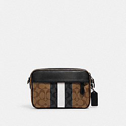 GRAHAM CROSSBODY IN BLOCKED SIGNATURE CANVAS WITH VARSITY STRIPE - 5573 - QB/TAN MULTI