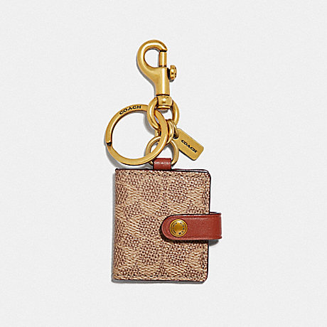 COACH 55785 PICTURE FRAME BAG CHARM IN SIGNATURE CANVAS KHAKI/BRASS