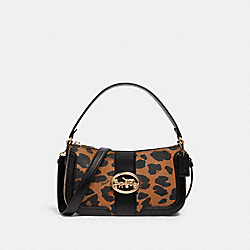 GEORGIE BAGUETTE WITH LEOPARD PRINT AND SIGNATURE CANVAS DETAIL - 5603 - IM/LIGHT SADDLE/ KHAKI MULTI