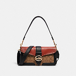 GEORGIE SHOULDER BAG IN COLORBLOCK SIGNATURE CANVAS WITH RIVETS - 5605 - IM/KHAKI/TERRACOTTA MULTI