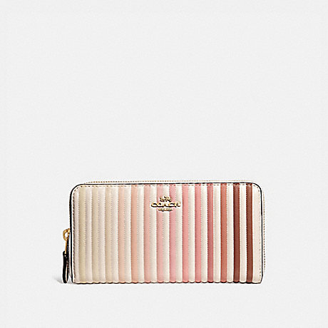 COACH 56277 ACCORDION ZIP WALLET WITH OMBRE QUILTING B4/CHALK-MULTI