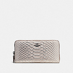 COACH 56283 Accordion Zip Wallet In Exotic Embossed Leather DK/GREY BIRCH