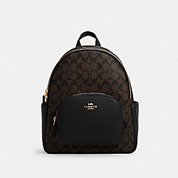 COACH 5671 Court Backpack In Signature Canvas IM/BROWN BLACK