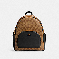COACH 5671 - COURT BACKPACK IN SIGNATURE CANVAS IM/KHAKI/BLACK