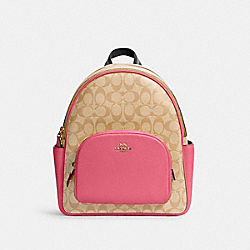 COURT BACKPACK IN SIGNATURE CANVAS - 5671 - IM/LIGHT KHAKI/CONFETTI PINK
