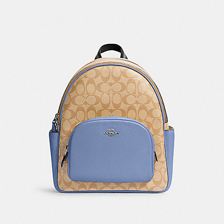 COACH 5671 COURT BACKPACK IN SIGNATURE CANVAS SV/LT KHA/PERIWINKLE