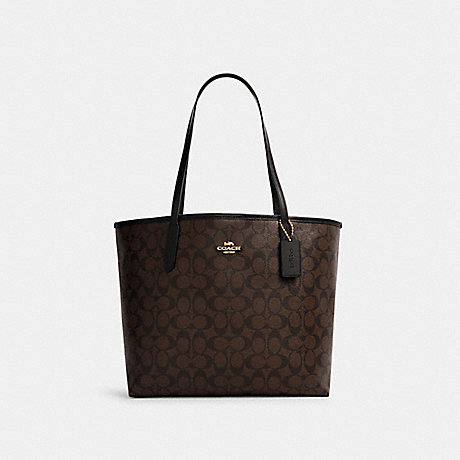COACH 5696 CITY TOTE IN SIGNATURE CANVAS IM/BROWN BLACK
