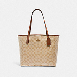 CITY TOTE IN SIGNATURE CANVAS - 5696 - IM/LIGHT KHAKI/SADDLE