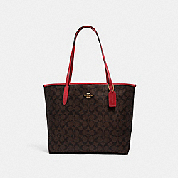 CITY TOTE IN SIGNATURE CANVAS - 5696 - IM/BROWN 1941 RED